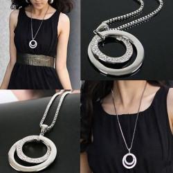 Versilbert Strass Double Circle lange hängende Halskette