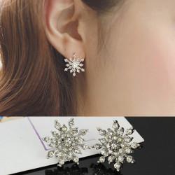 Silber überzogener Kristallrhinestone Schneeflocke Stern Bolzen Ohrring für Frauen