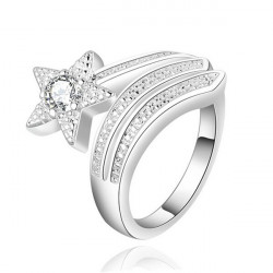 Silver Plated Crystal Rhinestone Star Opening Finger Ring For Women