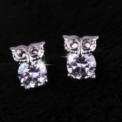Silver Plated Cute Crystal Owl Ear Stud Earrings For Women