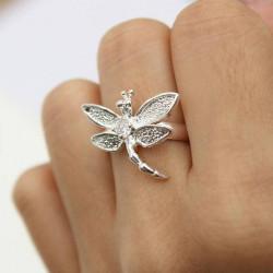 Silber überzogene Libelle Tierfinger Ring Frauen Schmuck