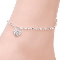 Silber überzogene Herz Strass Braut Fußkettchen Metallkette