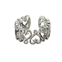 Silver Plated Hollow Hearts Crystal Open Finger Ring For Women