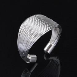 Silverpläterad Multi Line Loops Open Ring Herr Kvinnor