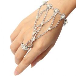 Silver Plated Pearl Rhinestone Ring Bracelet Metal Chain Bracelet