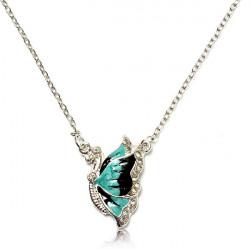 Silver Plated Rhinestone Butterfly Dobbelt Kæde Vedhæng Halskæde