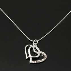Silverpläterad Rhinestone Double Hearts Snake Chain Hängande Halsband