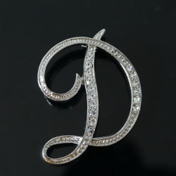 Silver Plated Rhinestone English Letters Brooch For Women