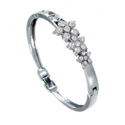 Silver Plated Rhinestone Flower Armbånd til Kvinder