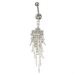 Silver Plated Rhinestone Tassel Dangle Navel Belly Ring Piercing