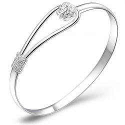 Silber überzogene Rose Blumen Kreis Stulpe Armband Armband Frauen Schmucksachen