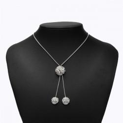 Silber überzogene Rose Blumen Anhänger Halskette für Frauen