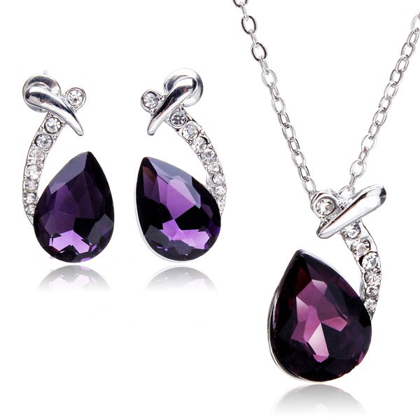 Silver Plated Water Drop Crystal Necklace Earrings Jewelry Set Women Jewelry