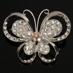 Silber Strass Schmetterling Legierung Brosche für Frauen