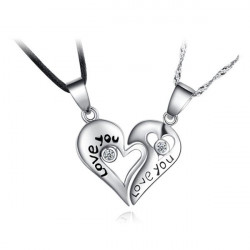 Silver Rhinestone Lover Couple I Love You Heart Shape Necklace Pendant