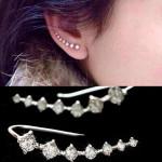 Silver Sju Body Cubic Rhinestonekristallen Ear Cuff Örhängen Damsmycken