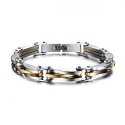 Silver Tone 316L Stainless Steel Rhombus Button Bracelet Men Jewelry