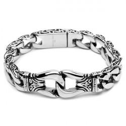 Silver Tonen Mens 316L Rostfritt Stål Armband Vintage Smycken