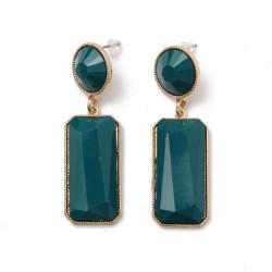 Square Geometric Gem Pendant Drop Earrings For Women
