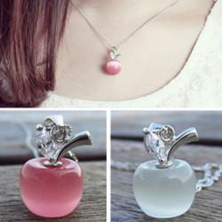 Sweet Pink freie Rhinestone Opal Apple Anhänger Halskette Silber Kette