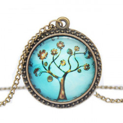 The Tree of Life Cabochon Carved Pattern Bronze Chain Pendant Necklace
