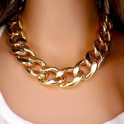 Tyk Guld Kæde Collar Statement Halskæde Armbånd Ankelkæde Smykker
