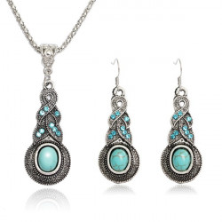 Tibetan Silber Crystal Türkis Anhänger Halskette Schmuck Set