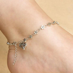 Tibetansk Sølv Daisy Flower Hjerte Vedhæng Kæde Anklet Ankel Armbånd