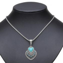 Tibetanisches Silber überzogene Kristall Türkis hohle Herz Anhänger Halskette