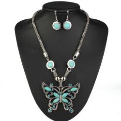 Tibetischen Silber Türkis Schmetterling Halskette Schmuck Set