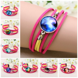 Time Gem Galaxy Cabochon Charm Multilayer Leather Bracelet Rose Red