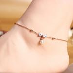 Titan Stahl Perlen Kristall Bowkont Fußkettchen 18K Rose Gold überzogen Damenschmuck