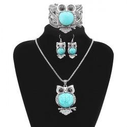 Turquoise Uggla Halsband Örhängen Armband Smycken Set Vintage