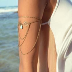 Turquoise Tassel Chain Överarmsmanschett Armlet Armband Armband