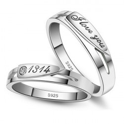 Valentines day Crystal Engraved Love You Wedding Rings Couple