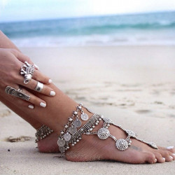 Antik Silver Charm Coin Anklet Beach Armband Foot Smycken