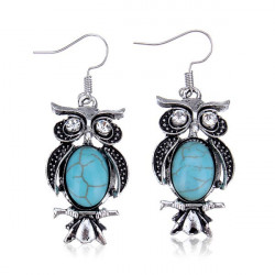 Vintage Antique Silver Plated Owl Cross Turquoise Dangle Earrings