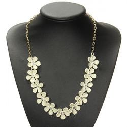 Weinlese beige Kamelie Blumen Kristallhalsband Opulente Halskette