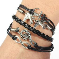 Vintage Bird Infinity Anchor Rudder Multilayer Leather Bracelet