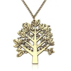 Vintage Birds Tree Letter Long Chain Pendant Sweater Necklace