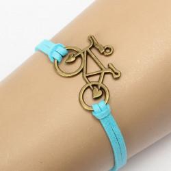 Vintage Bronze Bicycle Bike PU Leather Bracelet  For Women