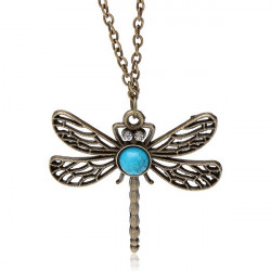 Vintage Bronze Crystal Turquoise Hollow Dragonfly Pendant Necklace