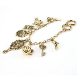 Weinlese Bronze Spiegel Teekanne Frog Key Charm Armband für Frauen