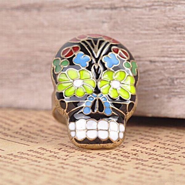 Vintage Farverige Peking Opera Mask Skull Enamel Flower Fingerringe Damesmykker