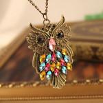 Vintage Farverige Rhinestone Bronze Ugle Trøje Kæde Vedhæng Halskæde Damesmykker