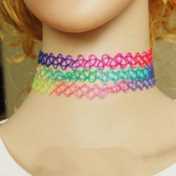 Weinlese bunte Stretch Elastic Henna Tattoo Kragen Halsketten