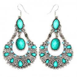 Vintage Crystal Acrylic Hollowed Dangle Earrings For Women