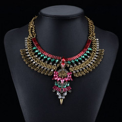Vintage Crystal Flower Big Collar Choker Statement Pendant Necklace