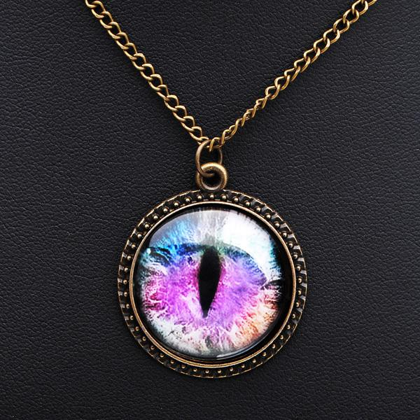 Vintage Dragon Cat Eye Glass Cabochon Bronze Chain Pendant Necklace Women Jewelry