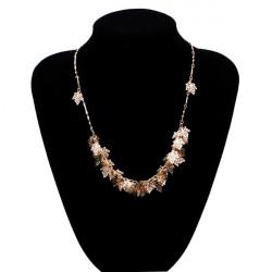 Vintage Guld Maple Leaves Alloy Collar Halskæde Kvinder Smykker